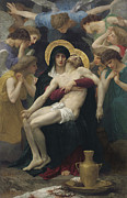 Halo Painting Framed Prints - Pieta Framed Print by William Adolphe Bouguereau
