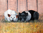Rusin Mixed Media - Pig Brothers by Zbigniew Rusin