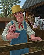 Farmyard Digital Art Posters - Pig Farmer Poster by Martin Davey
