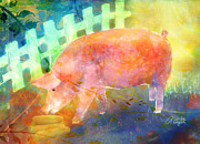 Pig Mixed Media Posters - Pig In A Pen Poster by Arline Wagner