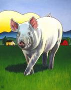 Pig Paintings - Pig Newton by Stacey Neumiller