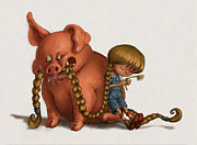 Pig Digital Art Posters - Pig Tales Chomp Poster by Andy Catling