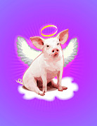 Sitting  Digital Art Posters - Pig With Wings And Halo Poster by New Vision Technologies Inc