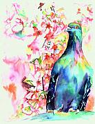 Cherry Blossoms Painting Posters - Pigeon Eye Poster by Christy  Freeman