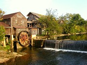 White River Scene Posters - Pigeon Forge Mill in Tennessee Poster by Cindy Wright