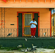 Street Photography Prints - Pigeon Lady of New Orleans Print by Kathleen K Parker