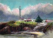 Pigeon Point Lighthouse Drawings Prints - Pigeon Point Light Print by Donald Maier