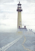 Controlled Mixed Media Framed Prints - Pigeon Point Light in Fog Framed Print by James Lyman