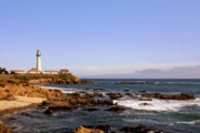 Landmarks Tapestries Textiles Originals - Pigeon Point Lighthouse CA by Christine Till