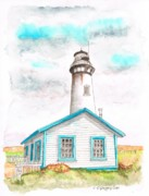 Lighthouses Paintings - Pigeon-Point-Lighthouse by Carlos G Groppa