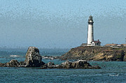 Seashore Digital Art Metal Prints - Pigeon Point Lighthouse Enhanced Metal Print by Suzanne Gaff
