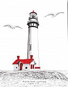 Pigeon Point Lighthouse Drawings Prints - Pigeon Point Lighthouse Print by Frederic Kohli