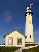 Perigee Moon Posters - Pigeon Point Lighthouse Poster by Wingsdomain Art and Photography