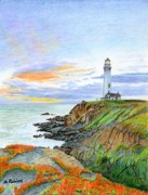California Coast Paintings - Pigeon Point Sunset by Mike Robles