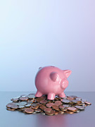 Wealth Prosperity Posters - Piggy Bank On Pile Of Coins Poster by Arb