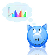 Success Prints - Piggy Bank With Graph Print by Setsiri Silapasuwanchai
