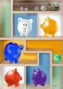 Pig Digital Art - Piggy Banks by Arline Wagner