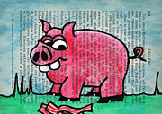 Pig Drawings - Piggy Contemplating Bacon by Jera Sky