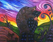 Wild Boar Paintings - Pighunter And Boar At Sunset by Dianne  Connolly