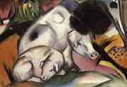 Swine Paintings - Pigs by Franz Marc
