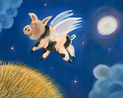 Humorous Pastels Posters - Pigs Might Fly Poster by Caroline Peacock