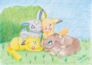 Newton Drawings - Pikachu and Eevee by Trudell Newton