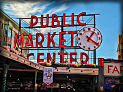 \\\\joan Minchak\\\\ Framed Prints - Pike Place Market Framed Print by Joan  Minchak