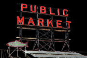 Pike Digital Art Posters - Pike Place Market Sign Poster by David Patterson
