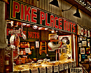 Shoppers Framed Prints - Pike Place Nuts Framed Print by David Patterson