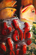 Wa Painting Posters - Pike Street Fish Poster by Debbie McCulley