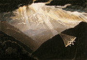 Sun Rays Drawings Prints - Pikes Peak Flight Print by Nils Beasley