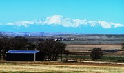 Prairie Skies Art Prints - Pikes Peak Over The Prairie Print by Clarice  Lakota