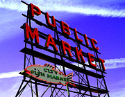City-scapes Art - Pikes Place Market by Nick Gustafson