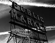 Nick Gustafson Metal Prints - Pikes PLace Market Sign Metal Print by Nick Gustafson