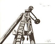 Pile Drawings Framed Prints - Pile Driver Framed Print by Pat Price
