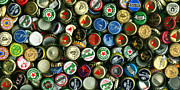Bottle Cap Acrylic Prints - Pile of Beer Bottle Caps . 2 to 1 Proportion Acrylic Print by Wingsdomain Art and Photography