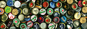 Bottle Cap Photo Posters - Pile of Beer Bottle Caps . 3 to 1 Proportion Poster by Wingsdomain Art and Photography