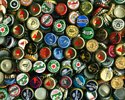 Bottle Cap Art - Pile of Beer Bottle Caps . 8 to 10 Proportion by Wingsdomain Art and Photography