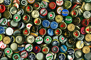 Bottle Cap Acrylic Prints - Pile of Beer Bottle Caps . 8 to 12 Proportion Acrylic Print by Wingsdomain Art and Photography