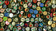 Bottle Cap Acrylic Prints - Pile of Beer Bottle Caps . 9 to 16 Proportion Acrylic Print by Wingsdomain Art and Photography