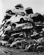 Junk Photos - Pile Of Discarded Automobiles by Everett