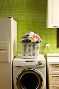 Domestic Interior Posters - Pile Of Laundry On Washing Machine Poster by Jae Rew