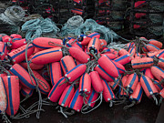 Ropes Photo Prints - Pile of Pink and Blue Buoys Print by Carol Leigh