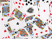 Pile Of Playing Cards Print by Wingsdomain Art and Photography