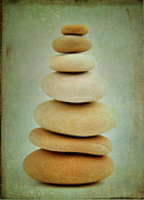Green Background Posters - Pile of stones Poster by Bernard Jaubert
