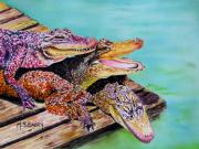Alligator Paintings - Pile Up by Maria Barry
