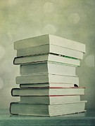 Books Framed Prints - Piled Reading Matter Framed Print by Priska Wettstein