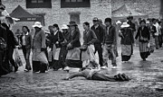 Crowd Scene Posters - Pilgrim Prostration Poster by Joan Carroll