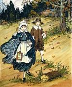Schoolgirl Art - Pilgrim Schoolchildren by Granger