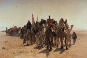 Orientalist Painting Framed Prints - Pilgrims Going to Mecca Framed Print by Leon Auguste Adolphe Belly